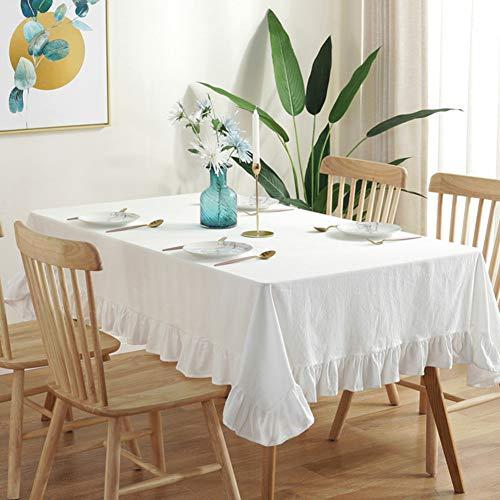 YEARLY Volant Trim Cotone Tessuto Tovaglie, Hotel Tovaglia Vintage Balze Domestico Tovaglie per Cucina Ristorante Partito Picnic USA-Bianca 140x260cm(55x102inch)