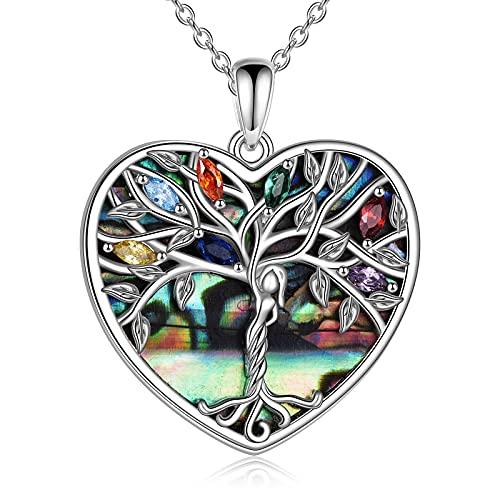 YFN Collar de plata de ley con colgante de árbol de la vida con colgante de corazón de abulón, collar de familia de la vida, joyas para mujeres, regalos