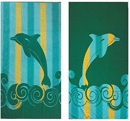 Corr - Toalla de playa (100 x 170 cm, 100% algodón), diseño de delfín verde