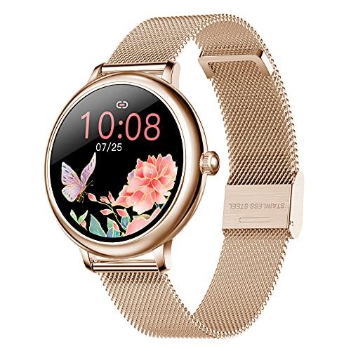 N \ A Relojes Inteligentes para Mujeres, Pantalla táctil Completa de 1.08', podómetro a Prueba de Agua IP67, Reloj con Monitor de sueño, Reloj Inteligente para teléfonos Android y teléfonos iOS