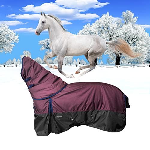 JMBF Couverture d'hiver de Cheval 1280D Couvertures de Cheval Lourdes Ripstop pour l'hiver Couvertures de Poney Imperméables, Respirantes et épaississantes pour l'hiver 250g Violet Moyen,3XL