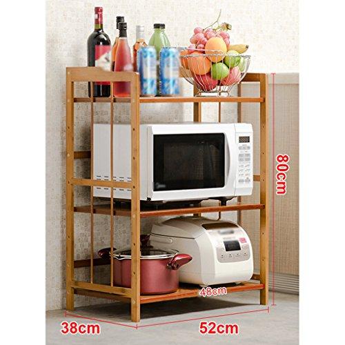 LXLA- 3.4-Tier Cuisine Étagère De Stockage Pot Rack Micro-ondes Ustensiles De Cuisine Cadre Plancher-debout Bois Multicouche 52/60/70/80 × 80/118 × 38 Cm (Couleur : 3 layers, taille : 70cm)