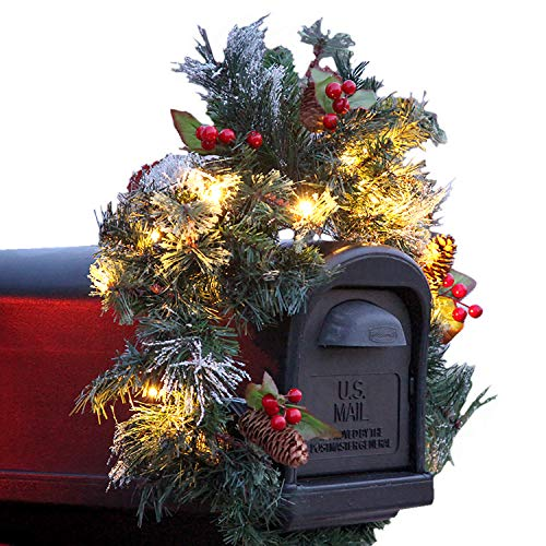 Blueberries and Snowy Pine Cones Elegant Christmas Door Artificial Teardrop Swag Classic Family Xmas Swag Unlit 28 Christmas Swag Tear Decoration Mixed Pine