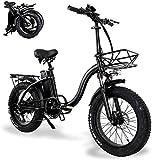 Bicicletas Eléctricas, Bicicletas plegables eléctricos for Adultos con 48V 15AH de gran capacidad de iones de litio 20 En el Fat Tire Bicicleta eléctrica con el coche de la cesta mini pequeño de aleac