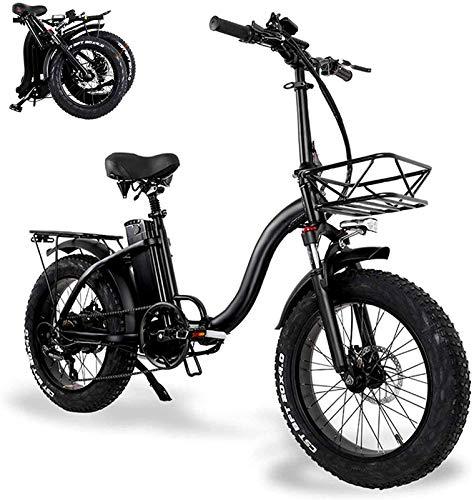 Bicicletas Eléctricas, Bicicletas eléctricas plegables para adultos con batería de iones de litio grande de 48V 15Ah 20 en bicicleta eléctrica de neumático de grasa con canasta de automóvil Mini scoot