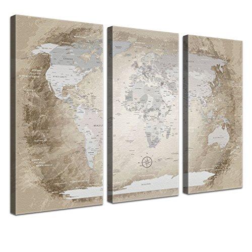 LanaKK Mappa del Mondo con Tappo di Sughero per Le Destinazioni Pinning, Mappa del Mondo Beige, Italiano, Stampa Artistica Bordo di Sughero in Marrone, 3 Pezzi, 120 X 80 Cm