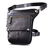 Le'aokuu Mens Leather Tactical Motorcycle Waist Pack Drop Leg Bag With Strap (The 211-4 Black 2)