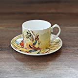 Bone China Kaffeetasse, Untertassen-Sets England Cartoon Peter Rabbit Rote Teetasse, Milch Nachmittagstee Tumbler Dish Suit@Mutter Hase