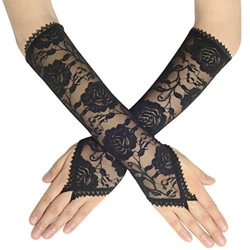 Coucoland Damen Handschuhe Satin Classic Opera Fest Party Audrey Hepburn Handschuhe 1920s Handschuhe Damen Lang Kurz Elastisch (Fingerlos Spitze Lang/Schwarz)