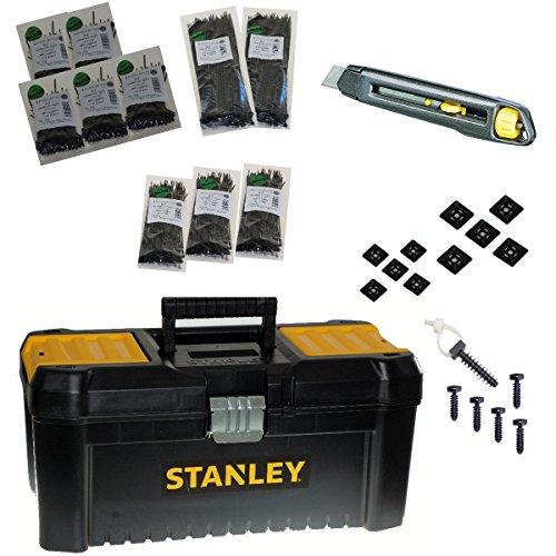 presilla de profesional maletín incl.–Material de montaje/cuchillo 1000presilla 100–290mm (Negro)