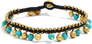 TOMLEE Bohemian Starfish Elephant Charm Beaded Alloy Chain Anklets for Women Braided Wax Rope Handmade Bell Clasp Anklet for Teen Girls, Boho Ankle Bracelets Foot Jewelry