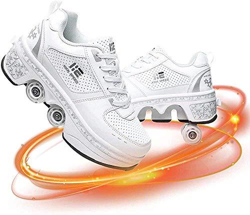 Aupast Erwachsene Rollschuhe, 2 in 1 abnehmbare Riemenscheiben, automatische Laufschuhe Unsichtbarer Rollschuh - Kick Rollschuhe einziehbare Erwachsene/Kinder, 33