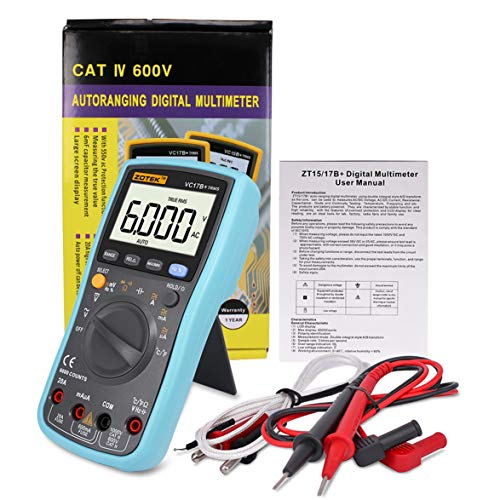 ZOTEK VC17B Digitalmultimeter 6000 Zählt Hintergrundbeleuchtung AC DC Amperemeter Voltmeter Ohm Kapazitätsmesser Tragbares Multimeter - Blau