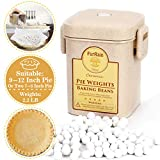 Pie Crust Weights, Ceramic Pie Weights 10mm Baking Beans with Wheat Straw Container for Blind Baking Pastry (2.2 LB/1000G)