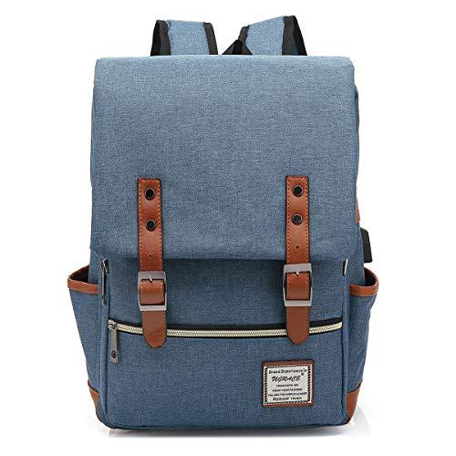 male backpack for schools UGRACE Vintage Laptop Backpack with USB Charging Port, Elegant Water Resistant Travelling Backpack Casual Daypacks School Shoulder Bag for Men Women, Fits up to 15.6Inch Laptop in Blue