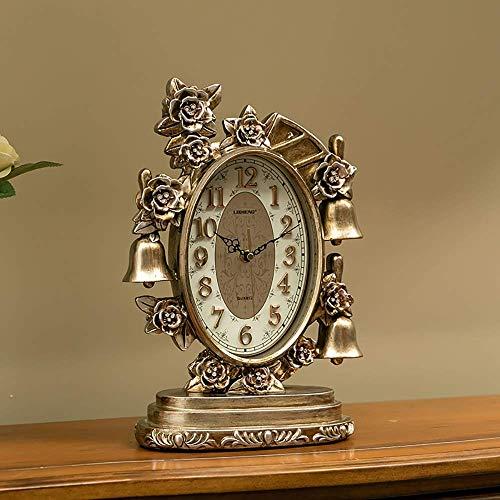 Reloj clásico para chimenea, números arábigos, esfera de escritorio, reloj de escritorio, retro, europeo de resina, funciona con pilas (color marrón