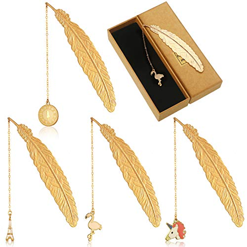 4 Pieces Metal Feather Pendant Bookmarks 3D Flamingo Big Ben Unicorn Iron Tower Pendant Bookmarks Gold Reading Page Markers for Teens Adults Friends Readers Valentine's Day Graduation Christmas