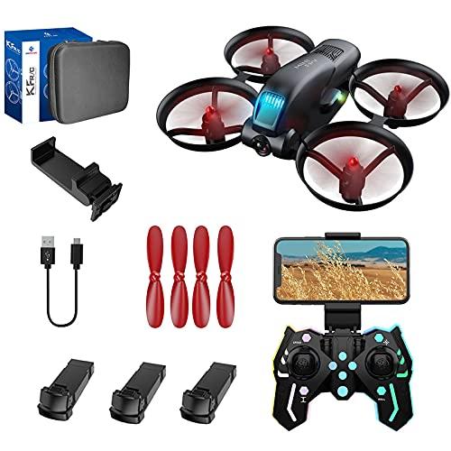 HYZHYZ Mini Drone 4K Profesional HD Flusso Ottico Dual Fotocamera WiFi FPV Altezza Pressione Manutenzione del Quadcopter Pieghevole Droni RC Droni Giocattoli Regali,3 Battery PCS