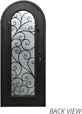 ALEKO IDR4096BZ09 Iron Round Top Twisted Vines Door with Frame and Threshold 40 x 96 Inches Aged Bronze