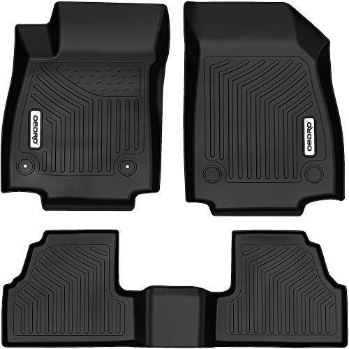 OEDRO Floor Mats Compatible with 2013-2022 Buick Encore/ 2014-2022 Chevrolet Trax, Unique Black Tape All-Weather Guard Includes 1st and 2nd Row Full Set Liners