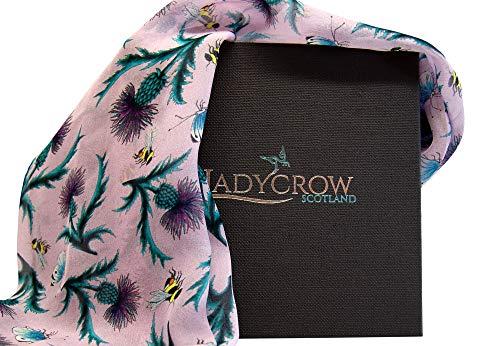 Ladycrow Luxe Handgedrukte Zijde Chiffon Sjaal in Roze met Thistles en Bijen
