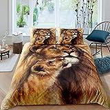 Erosebridal Lion Bedding Set, Brown Duvet Cover Queen Size, African Savannah Safari Wildlife Animals Comforter Cover, Couple Theme Bedspread Cover for Bedroom Living Room Decorative