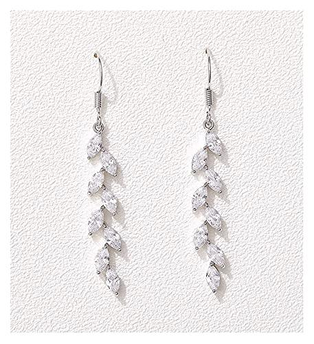 mimiliy Pendientes de Casquillo de la Boda de Marquise para Las Novias Pendientes Nupciales de Cristal de Cristal para Mujeres (Color : Silver)