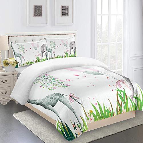 ZHIYYQ Juego de cama de 3 piezas, funda de edredón doble para funda de almohada de jirafa 100% microfibra, impresión digital 3D, cómoda y suave cierre invisible, 200 x 200 cm