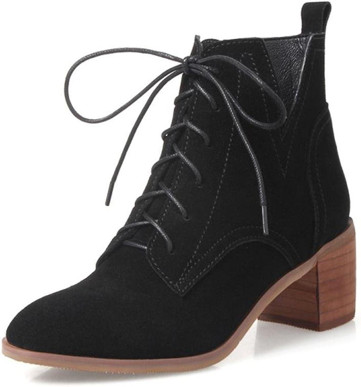 AIURBAG Damen Schuhe Echtes Echtes Echtes Leder Leder Herbst Winter Modische Stiefel Stiefeletten Stiefel Spitze Zehe Stiefelies Stiefeletten Schnürsenkel Für  174cad