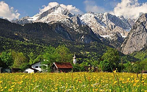 HEE WAG Zugspitze Kirche in den Alpen Gemälde nach Zahlen DIY Unique