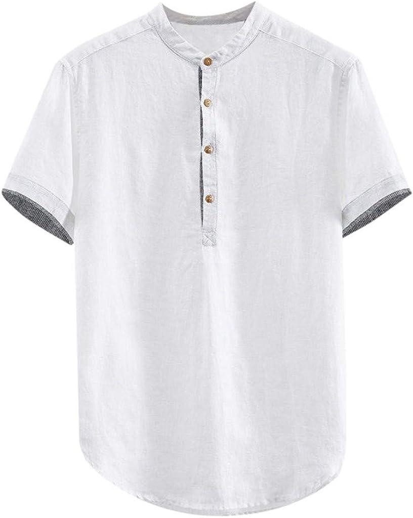 MODOQO Men's Shirt-Summer Casual Solid Color Cotton Linen Short Sleeve Button T-Shirt