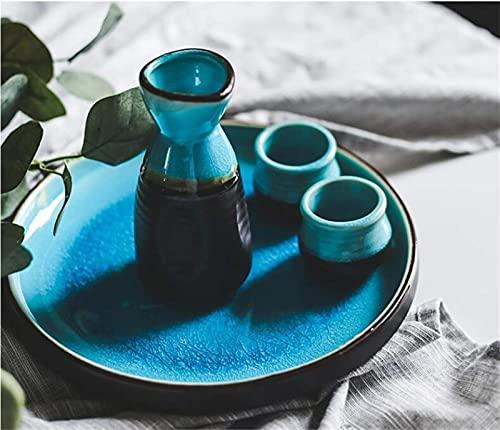 Ice Crack vajilla esmaltada Juego de Vino de cerámica Taza de Sake rociador de Botella Juego de Restaurante en casa Bodega (Color: Plato de 9 Pulgadas de Profundidad)