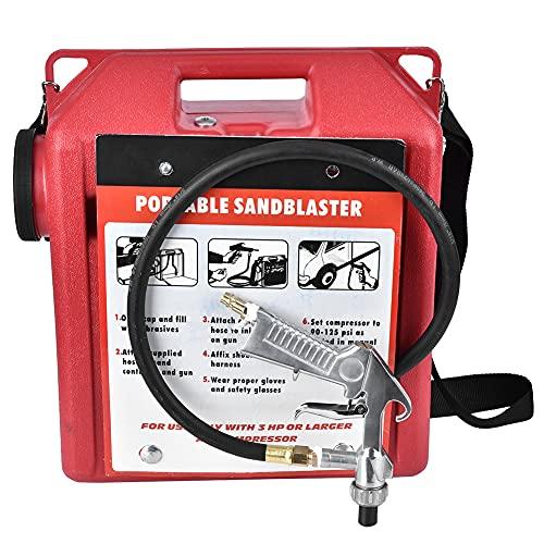 Máquina de chorro de arena con chorro de arena, kit de barril de pistola de chorro de arena neumático portátil de 30 libras, herramienta de limpieza de óxido/removedor de pintura