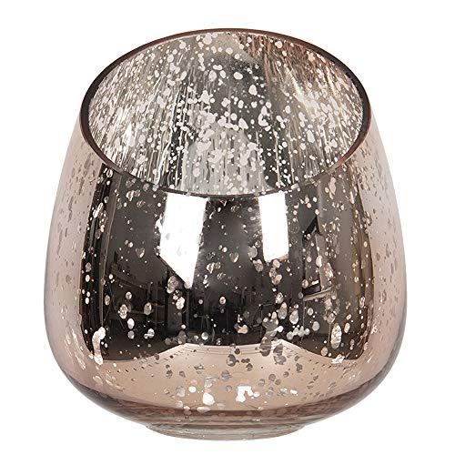 Clayre & Eef Glazen Theelichthouder 6GL2911L Ø 14 * 16 cm - Roze Glas Waxinelichthouder Windlichthouder