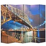 SHUJUNKAIN Biombo Divisor Plegable 228x170 cm Puente Harbour Sydney Mobiliario Divisores de ambientes Material: Estructura de Madera Maciza de Abeto + Cubierta de Lona