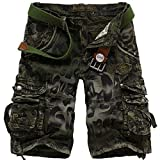 Loose Fit Shorts Summer Cargo Pants Klassische Distressed Leopard Camouflage Print mit Mehreren...