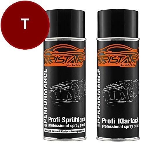 TRISTARcolor Autolack Spraydosen Set für Ford/Lincoln/Mercury T Candy Apple Red Basislack Klarlack Sprühdose 400ml