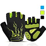 iaoja Mens Cycling Gloves, Gel Pad Shock-Absorbing Anti-Slip Breathable Biking Gloves Half Finger Motorcycle Mountain Bike Gloves for Men Women (Green, Large)