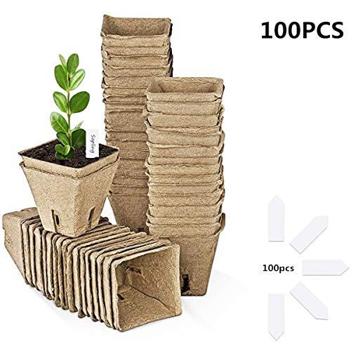 SOONHUA Vasi in Fibra 100 Pezzi di Semi di Torba per Vaschette per Semi di Avviamento per Piantine da Giardino 100 Pezzi Vassoi per Piantine di Piantine + 100 Pezzi Etichette per Piante