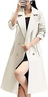 Women's Slim Long Wind Coat Double Breasted Outdoor Long Trench Coat Lapel Windbreaker Elegant Jackets