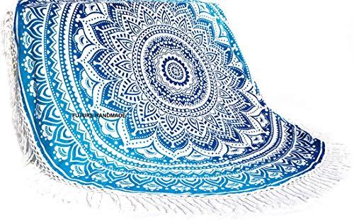 FUTURO HECHO A MANO 72 '' Inc Azul Ombre Mandala Tapiz Redondo Hippie Indian Mandala Roundie Cubierta De Mesa De Picnic Hippy Boho Gypsy Algodón Mantel Toalla De Playa Meditación Redonda Estera D