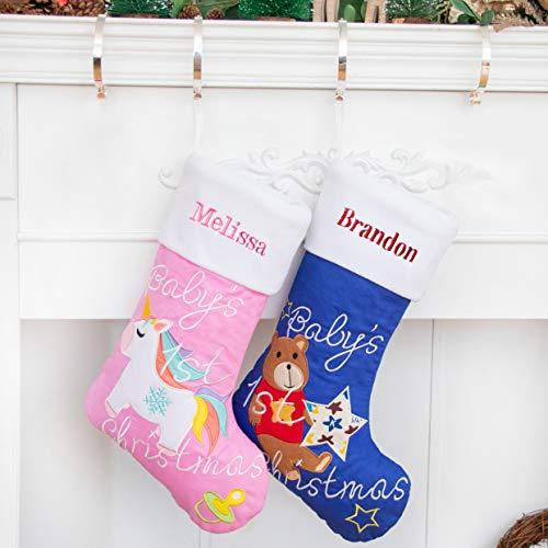 Nikolausstrumpf mit Name personalisiert Weihnachtsstrumpf Geschenke für Neugeborenes Babys 1. Weihnachten Deko Kamin Christmas Stocking Ideal Nikolausstiefel zum befüllen und aufhängen groß