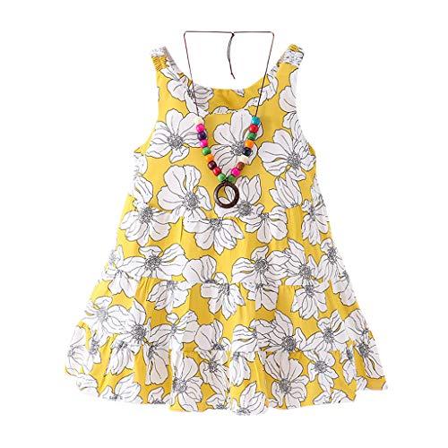 Sommerkleider Kinderbekleidung Partykleid Babykleidung Pwtchenty Prinzessin Kleid Mädchen Sommer Kurzarm Blumendruck Kleid+ Halskette Strampler Overall Outfits Set