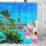 República Dominicana Cortina de Ducha Viaje Decoración de Baño Set Con Ganchos Poliéster 72x72inch (YL-01561)