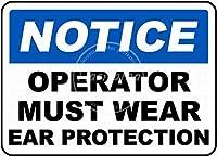 Must Wear Ear Protection 金属板ブリキ看板警告サイン注意サイン表示パネル情報サイン金属安全サイン