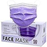 ZUBREX 使い捨て マスク 3層構造 フェイスマスク 弾性イヤーループ付き 50枚入り 普通サイズ 男女兼用 紫