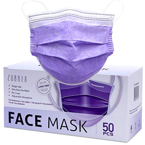 ZUBREX 50 Pcs Disposable 3 Ply Safety Face Mask for Protection with Nanofiber Filter Lining - and Elastic Earloops (Purple)