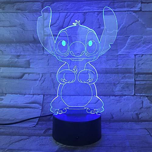 Luz de noche 3D Lámpara de escritorio de puntada de dibujos animados Mesita de noche Ilusión 3D Touch RBG Lámpara decorativa Niño Niños Baby Nightlight Stich Night Light LEDFFFZDCKAY