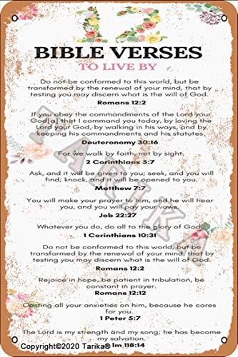 Letrero de pintura con texto en inglés 'Bible Verses To Live By Iron 20 x 30 cm, aspecto vintage, decoración para el hogar, cocina, baño, granja, jardín, garaje, citas inspiradoras