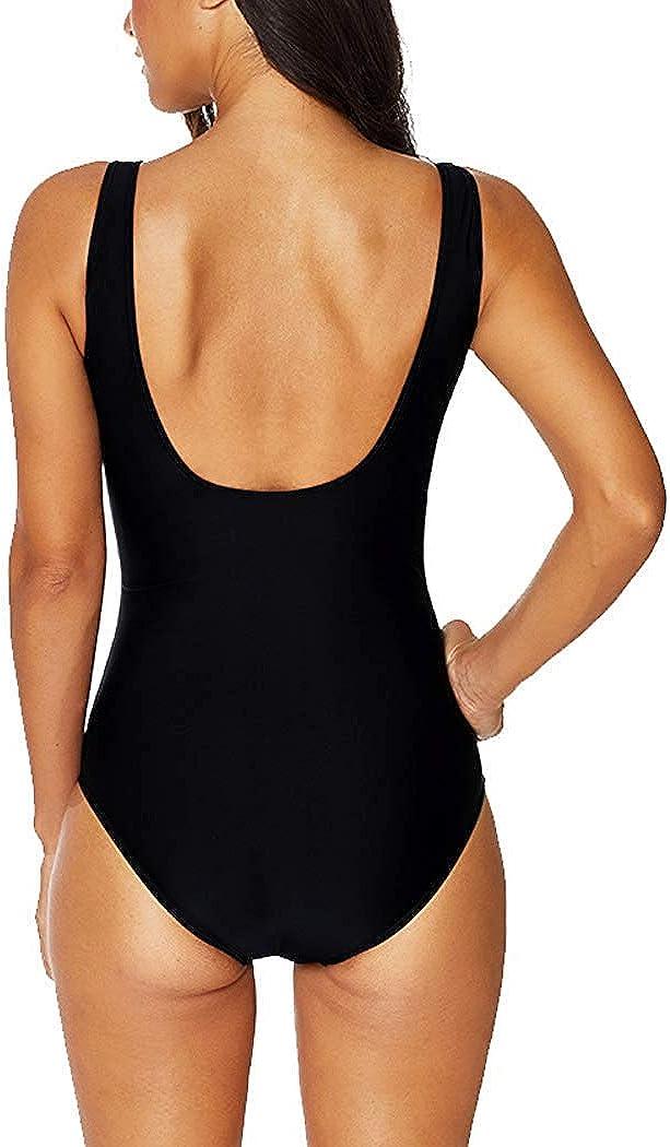 Achruor Badeanzug Einteiler V-Ausschnitt Damen Push up Badeanz/üge Sportlich Gro/ße Strandmode Schwimmanzug